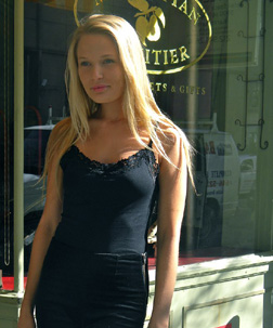 Model Being Photographed in Front of Manhattan Fruitier