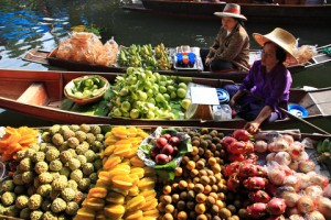 Exotic fruits and night market in Thailand.