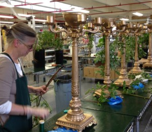 preparing a candelabra centerpiece