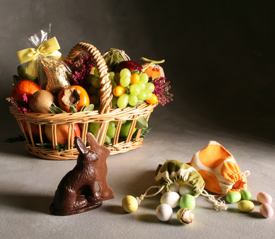Easter Basket with Chocolate Rabbit