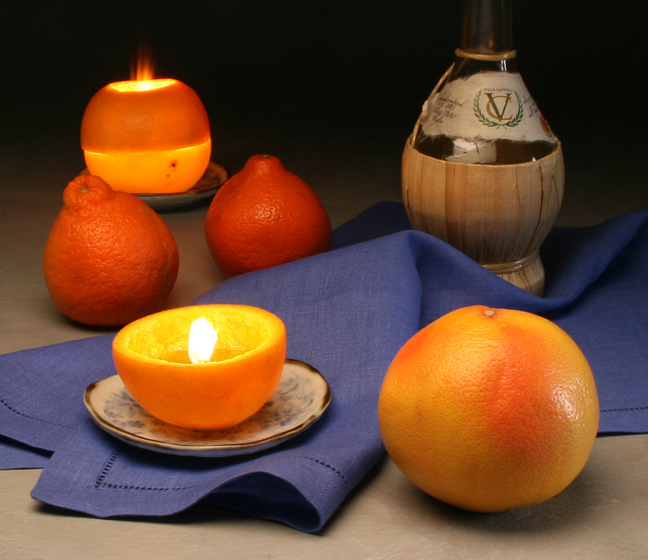 Citrus Candle with  oil bottle