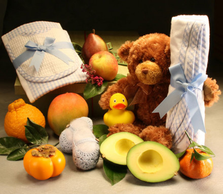 Baby Hamper with Booties and Blanket Set Large