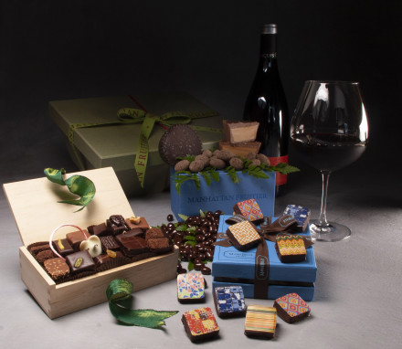 Chocolate Lovers Baskets with Wine