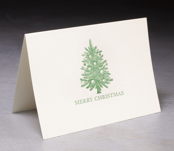 Merry Christmas Letterpress Card $10