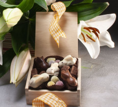 Easter Lillies with Chocolate Bunnies $82