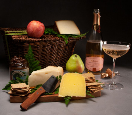 Farmhouse Cheese Basket with Sparkling Rose $157