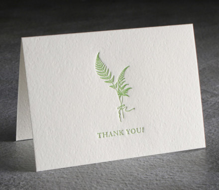 Thank You Letterpress Card $6