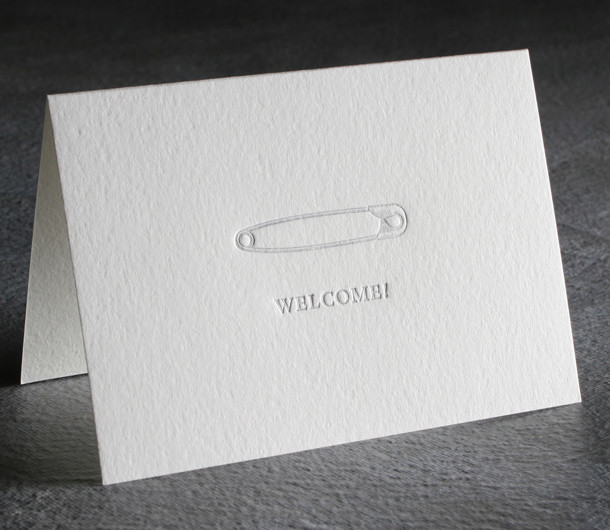Welcome Baby Letterpress Card $8