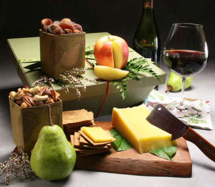 Organic Cheese Basket with Wine