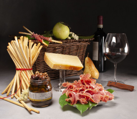 Prosciutto and Parmigiano Basket with Wine