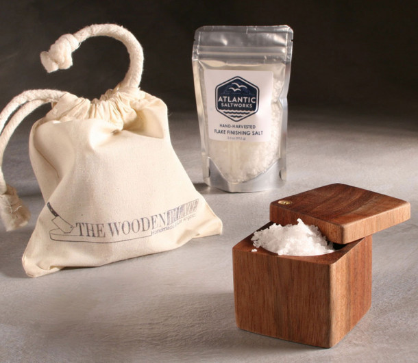 Lidded Salt Cellar and Sea Salt from the Atlantic Ocean
