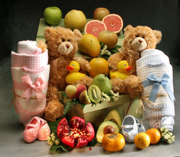 Twins Baby Hamper with Booties and Blanket Set $285