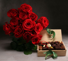 Roses and L.A. Burdick Chocolates