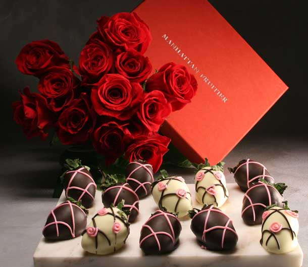 Roses and Chocolate Dipped Strawberries for Valentine's Day