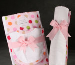 Pink Baby Blanket, Bib and Burp Set