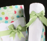 Green Baby Blanket, Bib and Burp Set